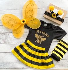 Baby Girl Bumble Bee Costume - Newborn Halloween Costume - Pumpkin Patch Outfit
