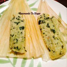 Tamales de espinaca con queso Receta -Mary S Cuellar 3 cucharadas de aceite 1 kg. de masa de maíz 1 manojo grande, o una bola de espinacas picadas f... - sazonando tu hogar - Google+