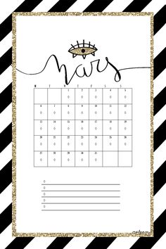 Printable calendar ! #march #printable #imprimable #mars #calendrier #calendrierimprimable #printablecalendar #illustrations #illustration #drawing #draw #gold #inspiration #mailyseven