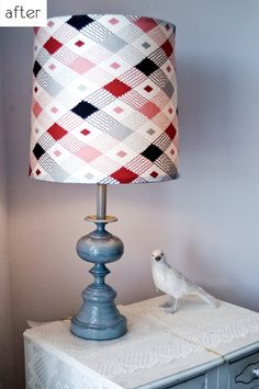 Instructions for giving your lamp a new coat of paint and covering the shade with a fun, new fabric of your choice (using hot glue, no less!).