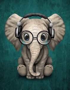Cute Baby Elephant Dj Wearing Headphones and Glasses on Blue. This adorable baby elephant illustration, is available on many products. Image Elephant, Cute Baby Elephant, Funny Elephant, Cartoon Elephant, Baby Elephant Tattoo, Baby Elephant Drawing, Elephant Drawings, Baby Animal Drawings, Elephant Artwork