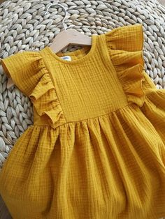 Baby Girl Dress Patterns, Little Girl Dresses, Unique Baby Girl Clothes, Gauze Clothing, Muslin Dress, Oeko Tex 100, Kids Outfits, Organic Cotton, Cape Dress