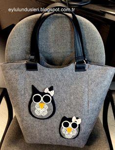 Baykuşlu keçe çanta / eylulundusleri.blogspot.com.tr / Keçelikalem