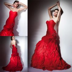 Whole 2017 Charming Red Mermaid Wedding Dresses Sweetheart Crystal Bridal Gowns Floor Length Zipper Iubride D1834