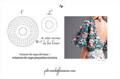 Volante de capa de base mas volantes de capa pequeños Patrones de Flamenca