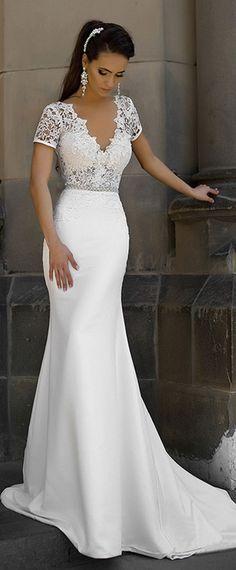 Junoesque Lace & Satin V-neck Neckline Mermaid Wedding Dresses With Bowknot