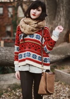 So cute and cozy... The layers look so warm and so comfortable! lovin the cozy knit, such a beautiful and Christmassy pattern, and it looks so snugly too!