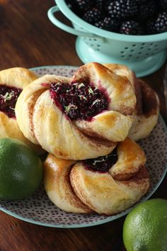 Blackberry Lime Filled Cinnamon Twists | Tender, flaky cinnamon twists with a sweet blackberry lime filling!