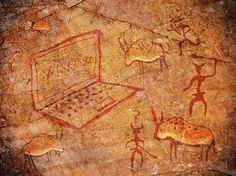 Cave painting with a laptop computer