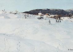 A Winter's Day in Norway, 1886 (oil on canvas) by Thaulow, Fritz info.: Un Jour d'Hiver en Norvege I Love Winter, Winter Day, Lund, Ludwig, Landscape Art, Art Forms, Norway, Fine Art America, Greeting Cards