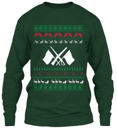 Color Guard   Ugly Christmas Sweater Forest Green T-Shirt Front