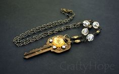 Champagne Key Necklace by CraftyHope on Etsy