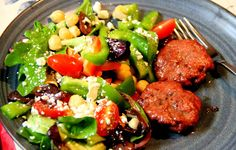 Adventures in All Things Food: Healthy Meal of Smoked Lamb Patties and Greek Inspired Salad