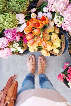 We don't know what's prettier: Spring flowers or these flat sandals. With blush pink straps and jeweled embellishments, they're a great finishing touch to weekend basics. Pinterest: @thispinterestpg