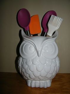 owl kitchen decor | ... Scuplted White Owl Utensil Holder ~ Kitchen Decor ~ Accessories NEW