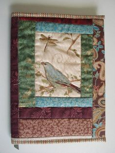 Blue Bird and Dragonfly Journal - made using my Quilted Journal Cover Pattern