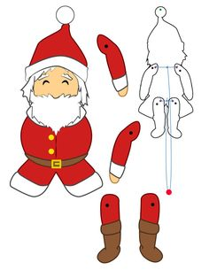 Christmas paper puppets - Santa Claus doll