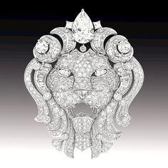 """""""Sous le signe du lion"""": une collection de haute joaillerie signée Chanel Broche amovible en platine & diamants"""