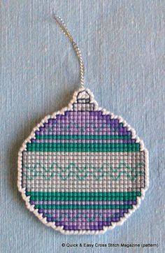 This pattern from Quick & Easy Magazine was perfect for creating a hangable Christmas tree decoration in a variety of colours. I made this one in cross stitch on14ct plastic canvas square using whatever stranded cotton threads I had that I thought look good together. Then I cut very carefully around the bauble leaving one line of canvas intact all round, which I oversewed in white perle. Cross Stitch Christmas Ornaments, Christmas Cross, Xmas Ornaments, Christmas Tree Decorations, Plastic Canvas Christmas, Simple Cross Stitch, Christmas Projects, Holiday Ideas, Cross Stitch Patterns