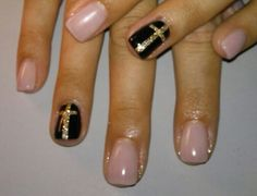 Religious themed nails!  Acrylic nails with hand painted nail art and gel top coat.