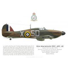 Hawker Hurricane Mk I, P / O Ken Mackenzie DFC, No. 501 Squadron, Royal Air Force, October 7, 1940 - Bravo Bravo Aviation
