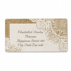 Elegant #rustic #white corner #lace on #burlap #wedding #personalized #label, part of a wedding set. #shabbychic #weddings, #rusticwedding, #countrywedding See more designs http://www.zazzle.com/weddings_?rf=238228936251904937=zBookmarklet