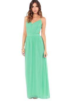 Sheinside Women's White Spaghetti Strap Backless Full Length Dress (S, Green)