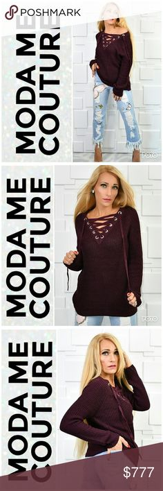 BURGUNDY LACE UP SWEATER Brand new Boutique item Price is firm Bundle to save  Fabulous burgundy knit sweater featuring popular lace-up neckline. Absolutely perfect color and style for the season. Make this sweater a staple for your fall/ winter wardrobe! Pair with our butterfly jeans or a pair of our fleeced lined leggings!   #fall trends popular sexy knitted warm cozy casual trendy laces as seen in pics MODA ME COUTURE Sweaters V-Necks