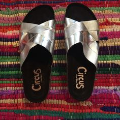 Silver slip ons Never worn, comfy & trendy!! Shoes Sandals