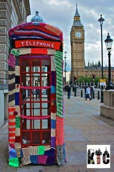 """A famous London phone booth, the work of Knit the City. They are """"a band of sneaky stitching graffiti knitters. We have an ongoing mission to guerilla knit the city of London, and beyond that the world, and bring the art of the sneaky stitch to a world without wool.  No part of the city is safe from Knit the City's woolly war on the mundane, humdrum and expected."""" Check their website for lots of inspiration!"""