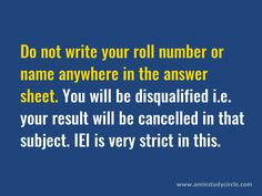 Do not write any detail except answers in answer sheet in AMIE exams.