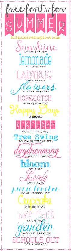 Free Fonts for Summer! | Ella Claire | Bloglovin'
