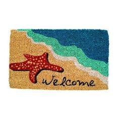 Entryways Starfish Welcome Hand Made Coir Doormat by the Water.