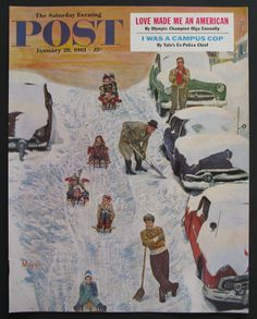 Original January 28, 1961 Saturday Evening Post Magazine Cover Art  Sledding and Digging Out was painted by Earl Mayan, a frequent cover artist for