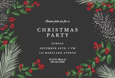 Customize, add text and photos. Print for free! Free Christmas Invitation Templates, Printable Invitation Templates, Christmas Card Template, Free Christmas Printables, Free Printable, 50th Birthday Invitations, Christmas Party Invitations, Invites, Xmas Flowers