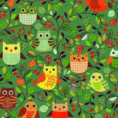 owl pattern ♥ Forest Friends from Makower UK