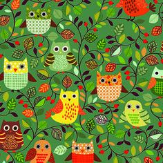 Makower UK - Forest Friends - Owls in Teal
