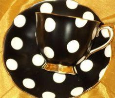 Polka Dots Tea Cup Saucer, Tea Cups, Teapots And Cups, Mad Hatter Tea, My Cup Of Tea, Vintage Tea, High Tea, Afternoon Tea, Tea Time