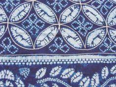 藍染めテーブルクロス 刺し子入り 生地アップ