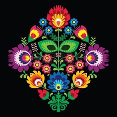 Illustration of Folk embroidery with flowers - traditional polish pattern on black background vector art, clipart and stock vectors. Polish Embroidery, Mexican Embroidery, Folk Embroidery, Learn Embroidery, Vektor Muster, Bordado Popular, Embroidery Designs, Polish Folk Art, Illustration