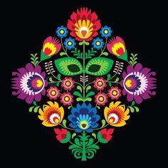 Bordado popular con flores - patr�n tradicional polaca en el fondo negro photo …                                                                                                                                                                                 Más