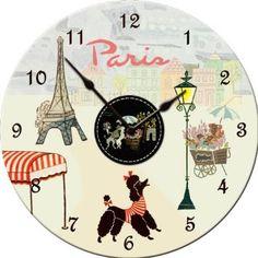 Image detail for -Wall Clocks Paris Wall Clock - Sew Vintage - Dolce Mia Vintage . Paris Home Decor, Parisian Decor, Shabby Chic Clock, Tick Tock Clock, Cute Clock, Vintage Calendar, Paris Theme, Bedroom Themes, Vintage Toys