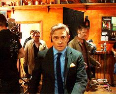 Martin freeman and company in the worlds end bts