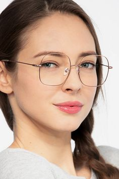 da329a26ddff Rose Golden Square Prescription Eyeglasses-Large Full-Rim Metal Eyewear-Movement  Rose Gold