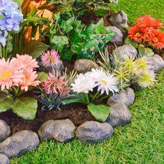 Fesselnd Dekosteine Garten Farbige Blumen Garten Verschönern