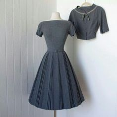 Grey pleated vintage style dress with matching jacket