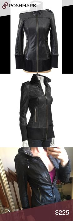 Mackage Nev Leather Jacket Mackage Nev Lamb skin leather jacket. Size Small, fits a little big. Excellent condition, no flaws. Aso Blake Lively. Has hood that can be zippered up and hidden when not wanted. Mackage Jackets & Coats