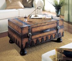 Trunk Coffee Table W Leather Appointments U0026 World Map Butler  Specialty,http://