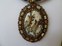 Graveyard Point Plume Agate, Beaded Embroidery with Berma Jade Tube Beads, Picasso Seed Beads and Peyote Stitch Neck Cord on Etsy, $189.00