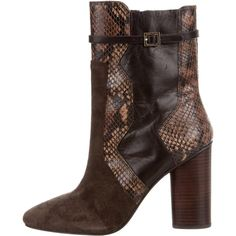Pre-owned Tory Burch Suede Ankle Boots ($150) ❤ liked on Polyvore featuring shoes, boots, ankle booties, brown, suede ankle booties, suede ankle boots, ankle boots, tory burch booties and brown suede booties